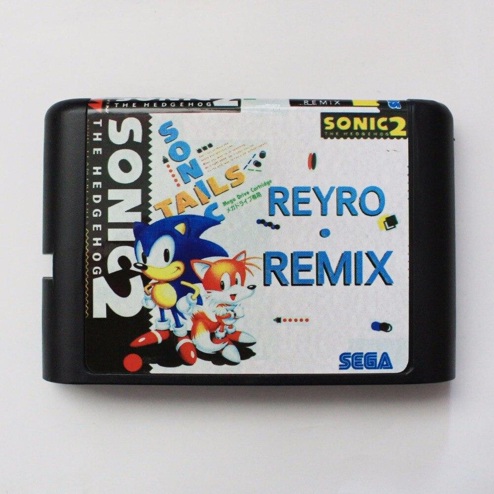 Sonic 2 Ретро ремикс 16 бит Sega MD карточная игра для Sega Mega Drive для Genesis