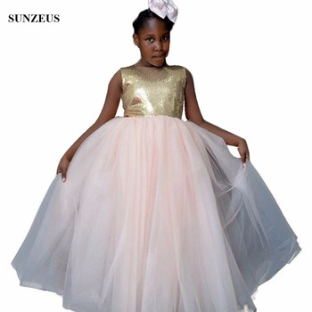 Gold Sequins Flower Girls Dress Puffy Tulle Long Wedding Party Gowns African Children Dress For Party FLG026