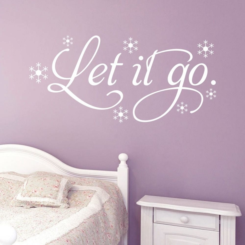 Frozen Let It Go Snow Wall Decals Home Decoration Quote Wall Sticker Words  Decor Wallpaper Size 64*30cm In Wall Stickers From Home U0026 Garden On ...