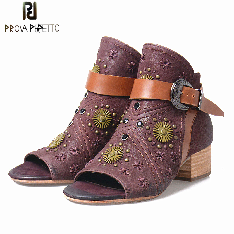 Prova Perfetto Spring Summer Peep Toe Flowers Gladiator Women Boots Shoes Mixed Color Rivet Appliques Belt Buckle Sandals Shoes ...