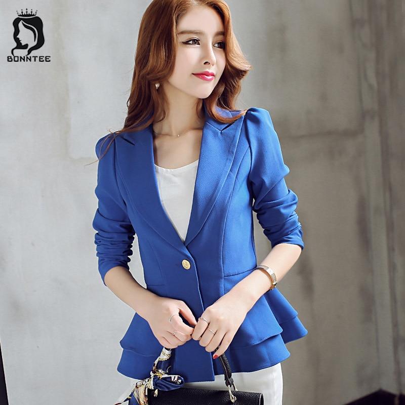 Fashion Slim Women Long Sleeve Blazer Womens Single Button Elegant Solid Female Blazers Females Korean Style Trendy Chic Ladies