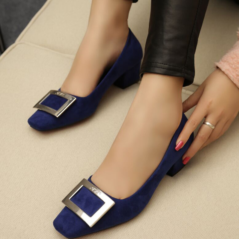 Square toe side buckle shallow mouth shoes small yards women's thick heel single shoes wedding shoes red plus size women's shoes