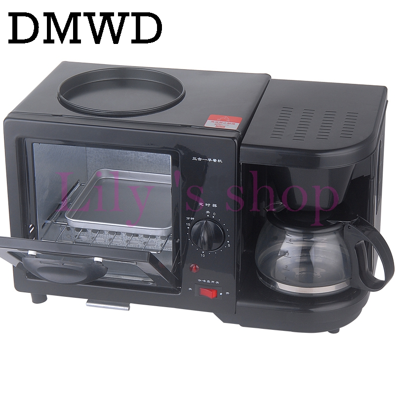 DMWD household electric 3 in 1 Breakfast Making machine Multifunction mini drip coffee maker bread pizza oven frying pan toaster
