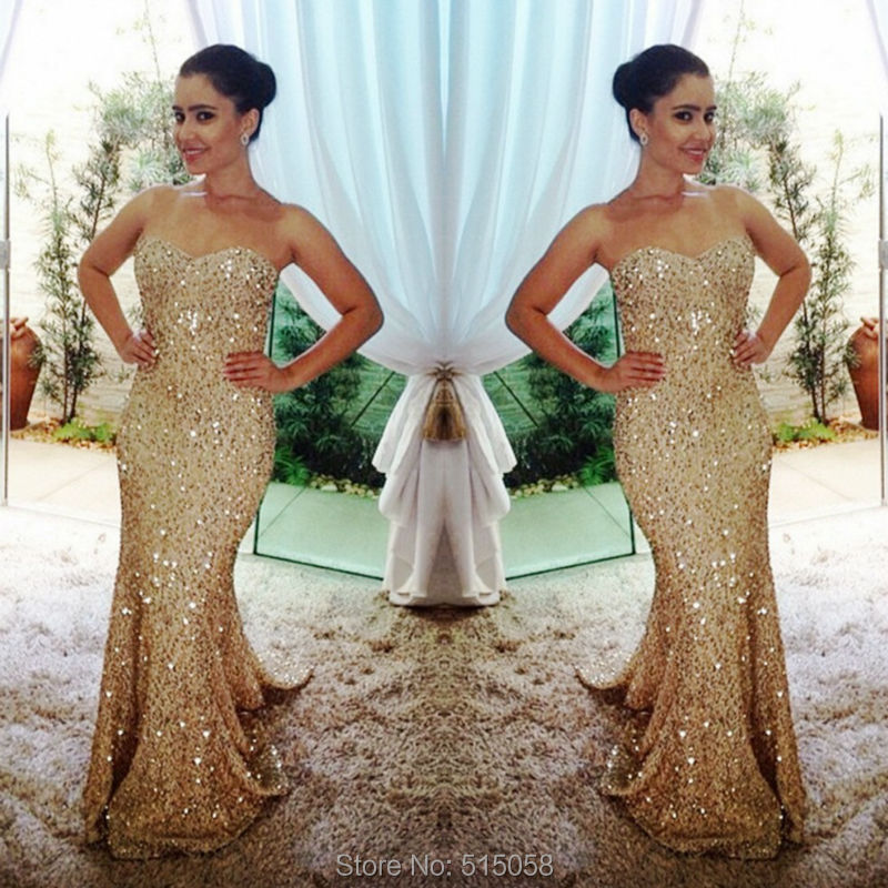 Aliexpress.com : Buy Sparkly Sequins Beaded Sweetheart Champagne ...