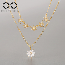 лучшая цена 925 Sterling Silver CZ Crystal Pendants Necklaces for Women Gold Color Double Layer Flower Zircon Clavicle Neckalce Jewelry Z4
