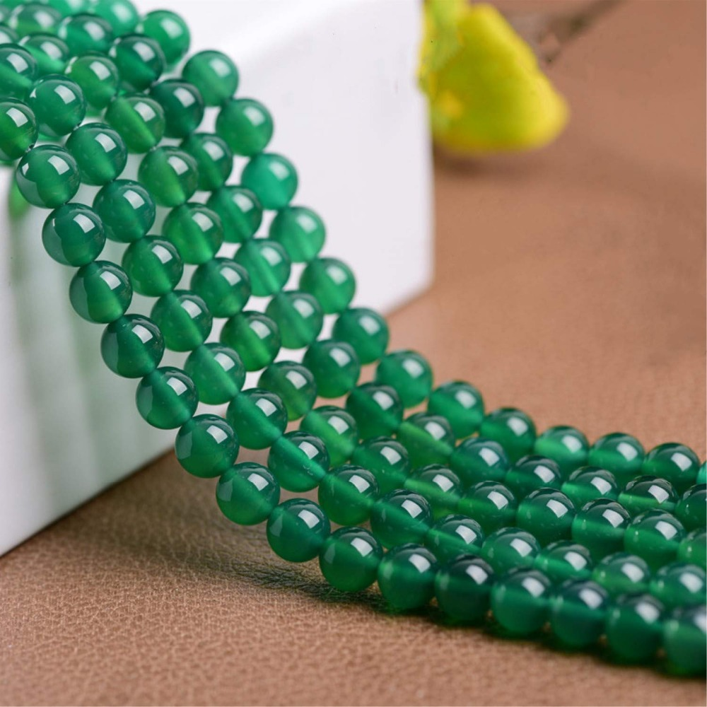 Natural Stone Green Agates Chalcedony Round Loose 15
