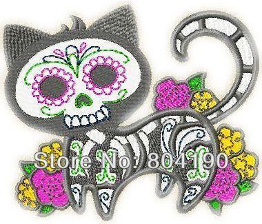 Black Cat X Ray Skeleton Rose Flowers Tatoo retro sew applique iron on patch Biker Vest