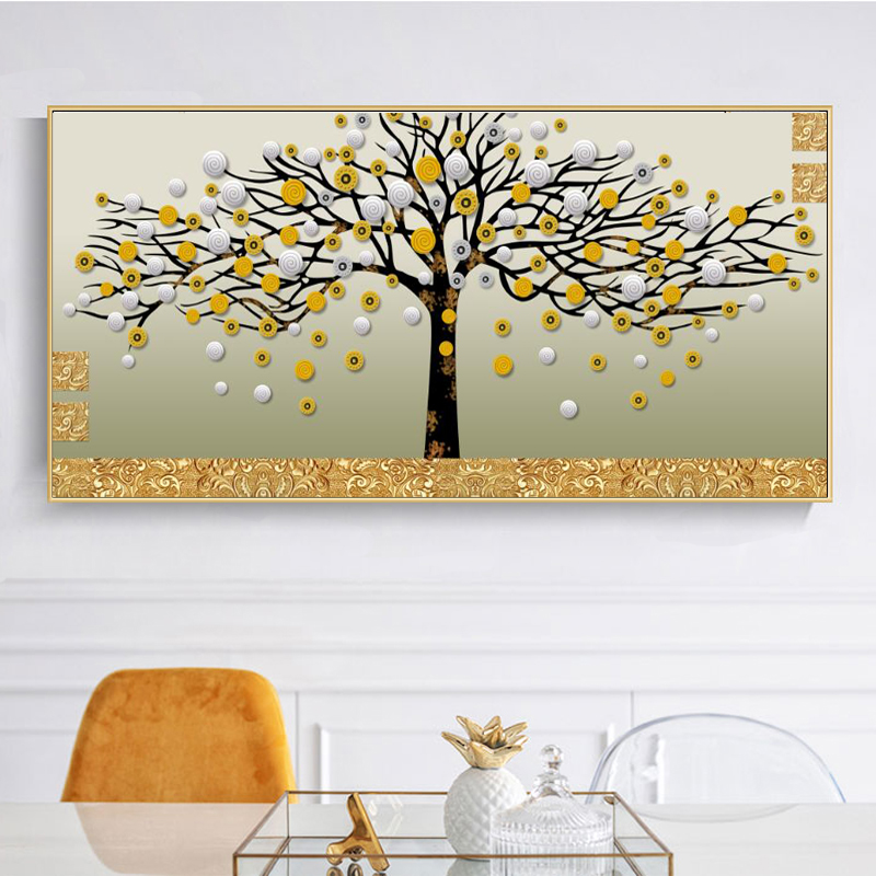 Posters And Prints Wall Art Canvas Painting Abstract Golden Money Trees Decorative Pictures For Living Room Home Decor No Frame