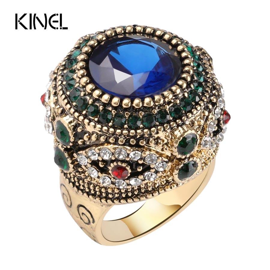 Wonderful Women Bohemian Blue Resin Inlay Aaacrystal Punk King Hot 2017 Luxury Big Stone Ring Vintage Crystal Rings Kinel Fashion G Ring