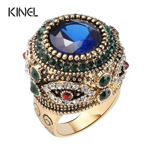Kinel Fashion Gold Antique Ring For Women Bohemian Blue Resin Inlay AAA Crystal