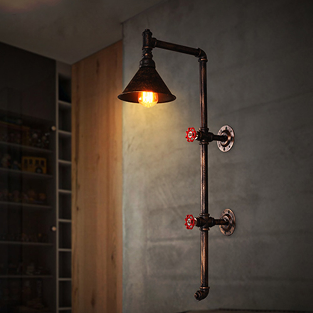 Loft Wrought Iron Industrial Water Pipe Vintage Retro Wall Lamp Sconce Creative Beside Lamps E27 Edison Home Light Fixture edison loft style vintage light industrial retro pendant lamp light e27 iron restaurant bar counter hanging chandeliers lamp