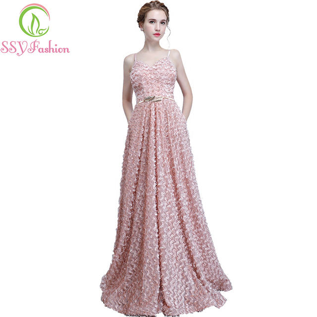 New Bridesmaid Dresses SSYFashion The Bride Sweet Pink Lace Sleeveless  Spaghetti Straps Long Party Formal Gown Robe De Soiree f6eee3444437
