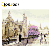RIHE Church With Walkers By Numbers DIY Sea Painting Handwork On Canvas Landscape Oil Painting Art Coloring Home Decor 2018 rihe church with walkers by numbers diy sea painting handwork on canvas landscape oil painting art coloring home decor 2018