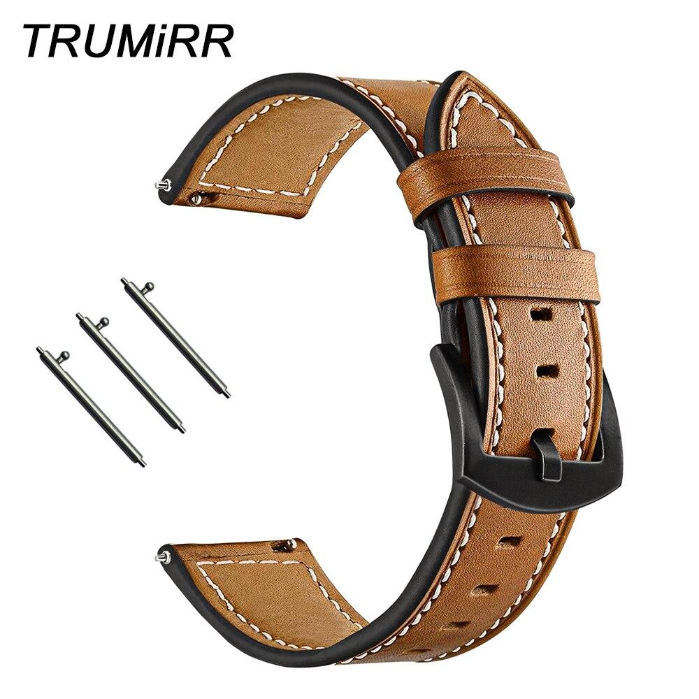 Quick Release Genuine Calf Leather Watchband For Garmin Vivoactive 3 / Vivomove HR / Forerunner 245 / 645 Music Watch Band Strap