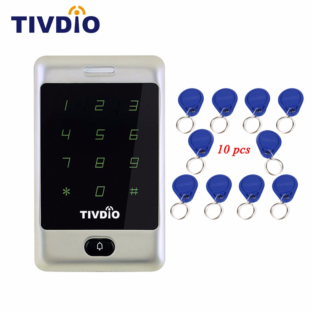 TIVDIO T-AC01 RFID Access Control 125KHZ Touch Keypad Door Access Control System KDL Metal Case Shell Backlight Keypad F9503D free shipping waterproof metal rfid access control touch keypad with green backlight and wg26 34 for door access control system