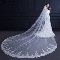 H&S Bridal Lace Edge Wedding Veil 3M long veil bridal accessories cathedral wedding veil Voile de mariee velo sposa