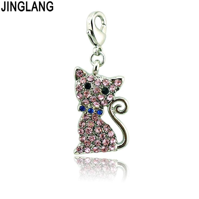 JINGLANG Fashion Lobster Clasp Charms Dangle Rhinestone Bowknot Cat Animals Charms For Jewelry Making DIY Accessories