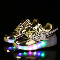 11 Styles Children Shoes With Wing Fashion LED Lighted Boys Girls Roller Skates Female And Male