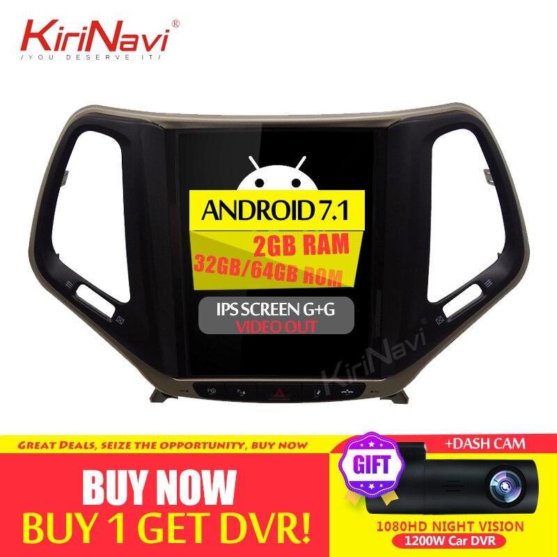 KiriNavi écran Vertical Tesla Style 10.4 pouces Android 7.1 voiture DVD pour JEEP Cherokee Radio GPS Navigation Bluetooth 2015 2016