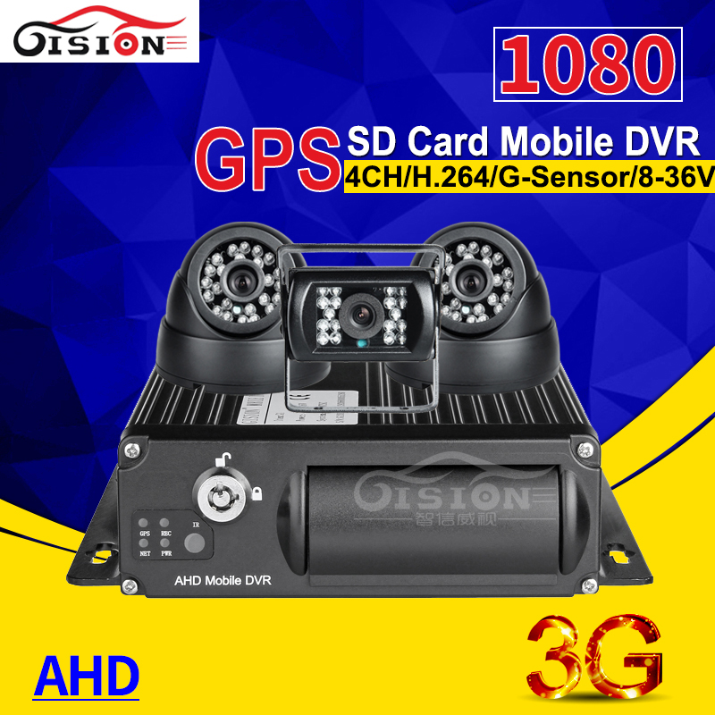 3PCS HD CAR Cameras+ 4CH SD 3G Real Time Surveillance GPS Tracking Car Dvr AHD 1080P Mobile Dve Kits For Bus Taxi I/O Alarm