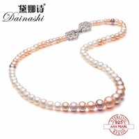 Dainashi Real Fresh Water White And Multi Color Pearl Necklaces With 925 Sterling Silver Flower Button
