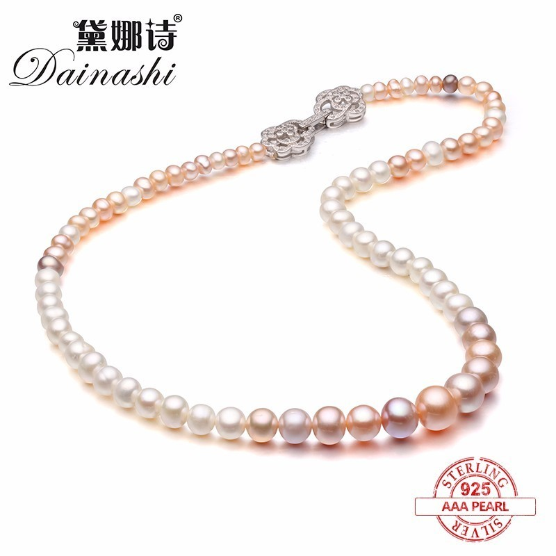Dainashi real fresh water white and multi color pearl necklaces with 925 sterling silver flower button beautiful gifts for girls