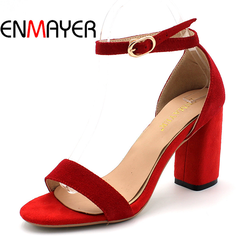 ENMAYER Summer Women Casual Fashion Sandals Pumps Shoes Ankle Strap Peep Toe Buckle Strap Square Heel Large Size 34-43 Black Red xiaying smile summer woman sandals fashion women pumps square cover heel buckle strap bling casual concise student women shoes