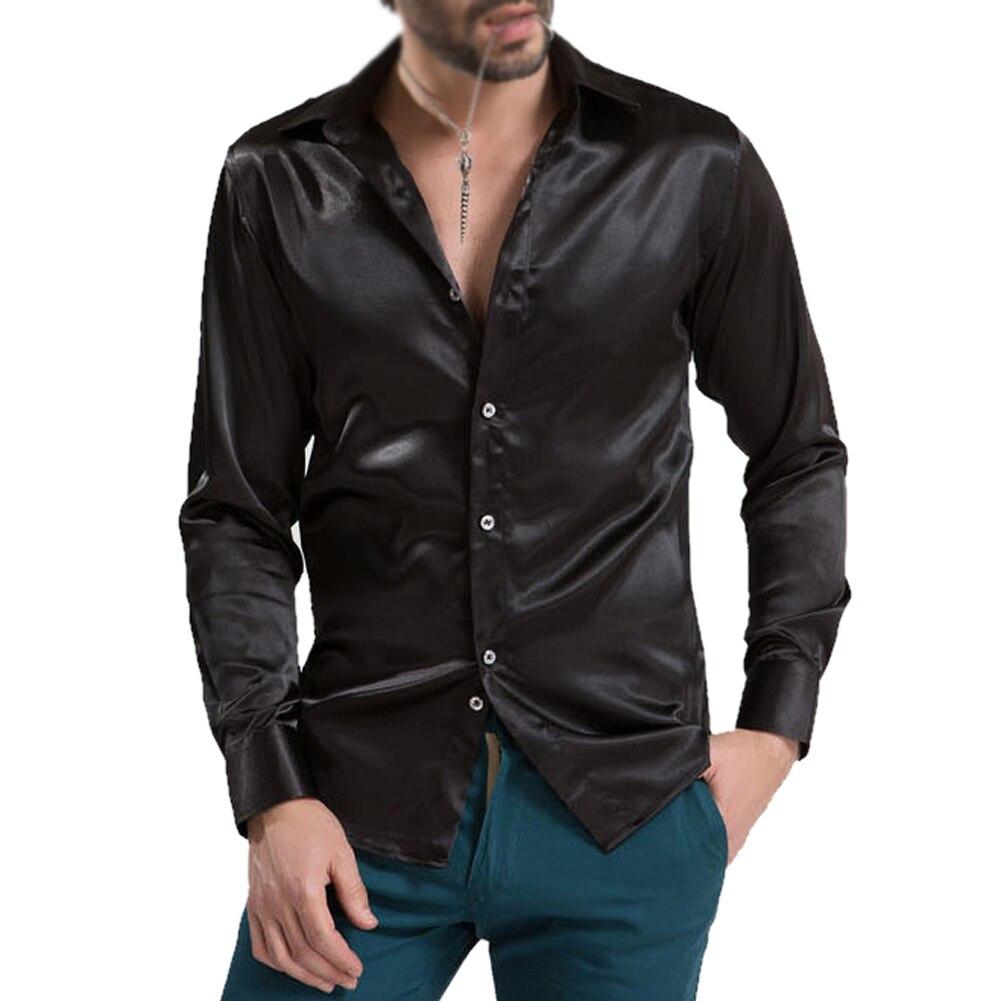 Leisure men 39 s clothing high grade emulation silk long for Men s dress shirt accessories