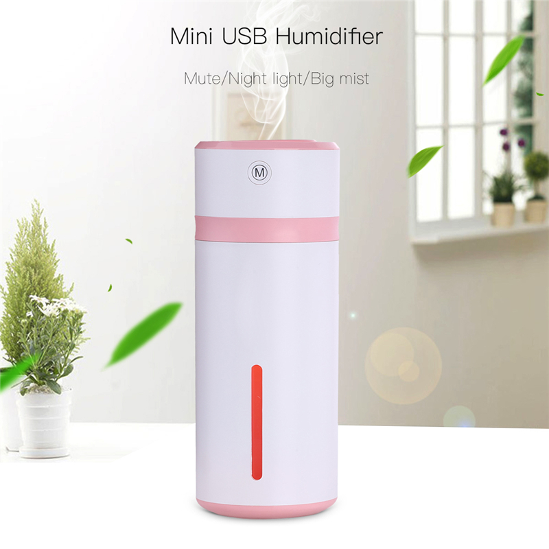 Mini USB Air Humidifier Mute Silent Cool Mist Maker Diffuser With 7 Colorful Changing LED Night Lights For Home Office Car 4546 portable mini square usb air humidifier blue led night light mute diffuser home office cool mist maker fogger humidifiers