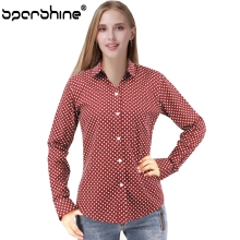 SPARSHINE Blusas Vintage Polka Dot Print Long Sleeve Blouse Shirt Women Autumn Casual Cotton Blusas Mujer 5XL Plus Size 2017 Top