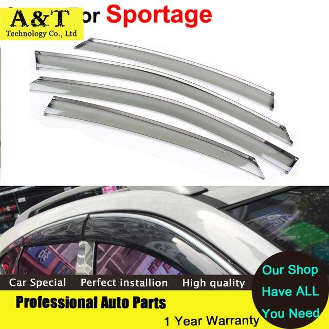 A & T do Windows viseira car styling Carro-Styling Chuva Toldo Abrigo Sol Pala janela Para KIA Sportage 2011 2012 2013 2014 2015 adesivo