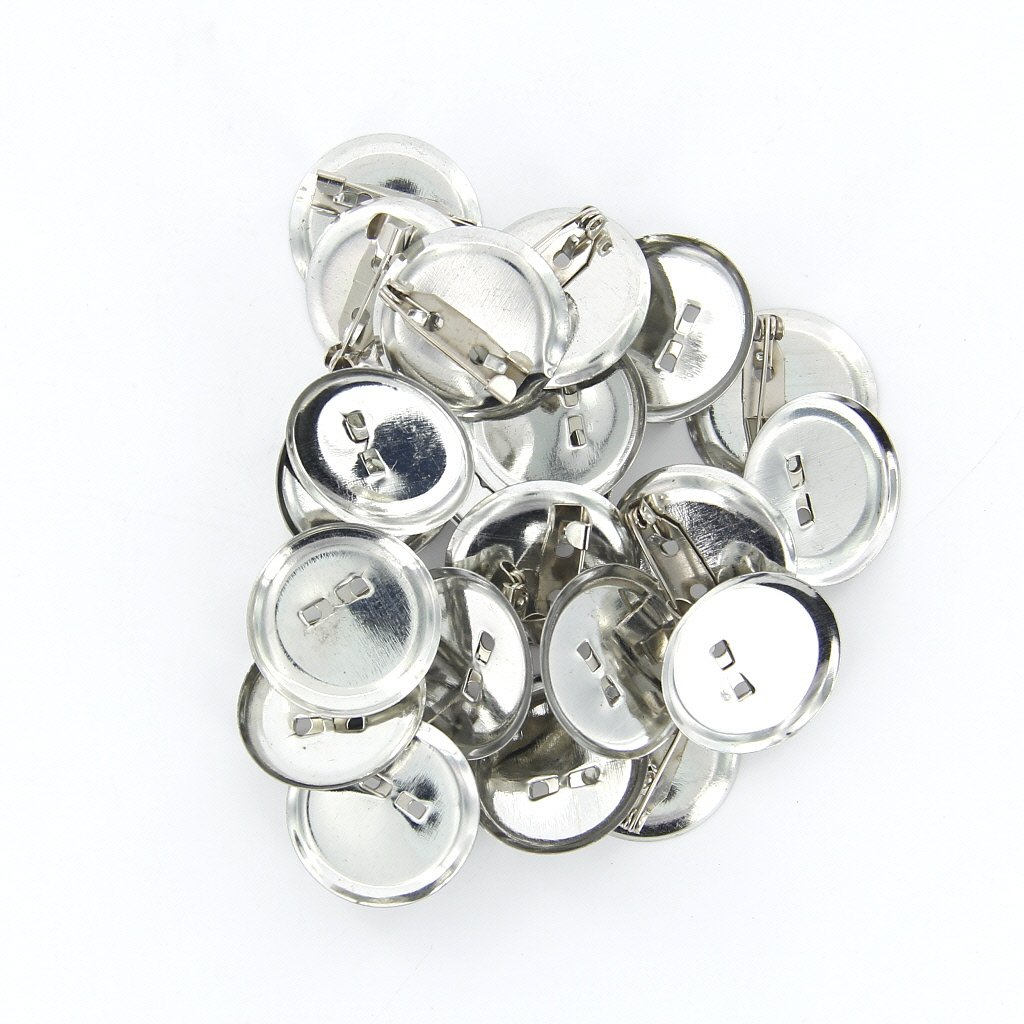 20pcs Silver Brooch Safety Pin Back Base 20mm for DIY Hairpins/Brooches