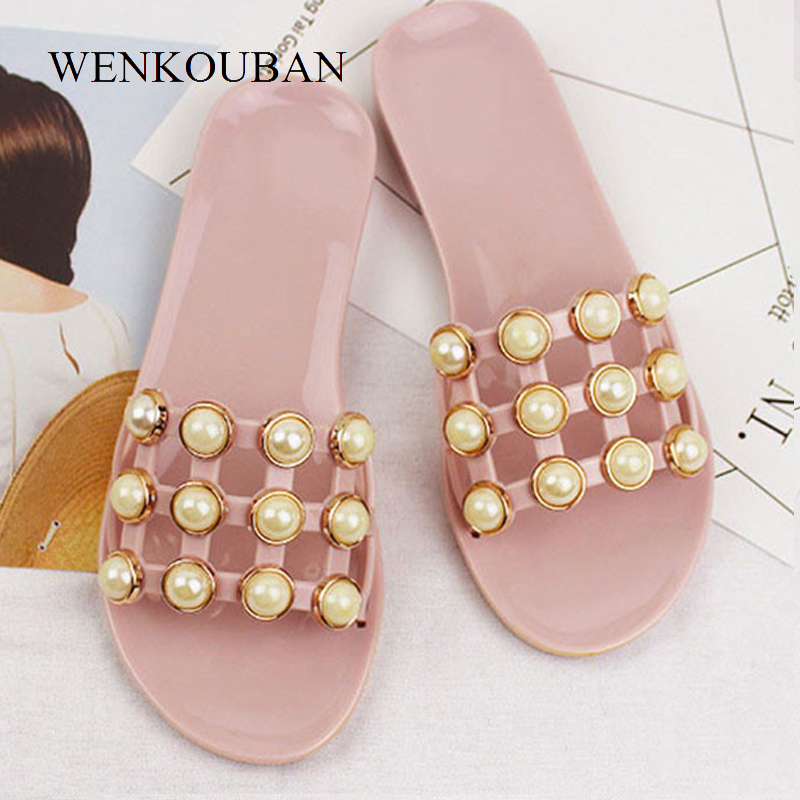 Fashion Pearl Slippers Black and Pink Women Summer Sandals Jelly Beach Shoes Slip On Flat Slides indoor Casual Sandalias mujer instantarts women flats emoji face smile pattern summer air mesh beach flat shoes for youth girls mujer casual light sneakers