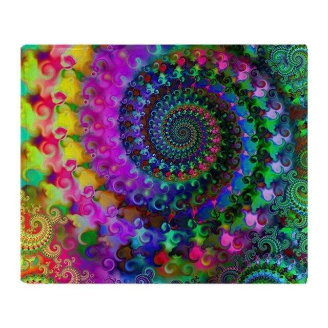 Psychedelic Rainbow Fractal Pattern Soft Fleece Throw Blanket Throws Adorable Fleece Blanket Pattern