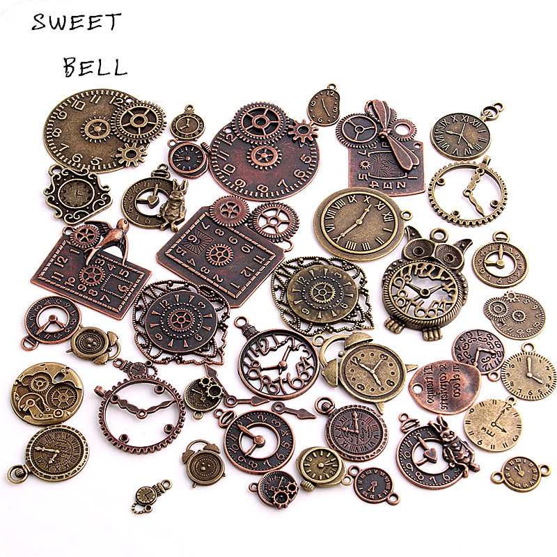 SWEET BELL 20pcs Vintage Metal Zinc Alloy Mixed Clock Pendant Charms Steampunk For Diy Jewelry Making H3012 In From