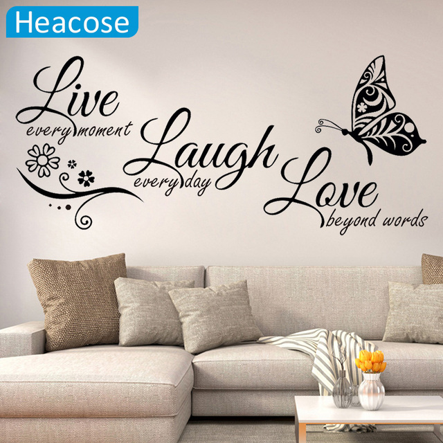 Live Laugh Love Butterfly Flower Modern Wall Decals Quotes Vinyls Stickers