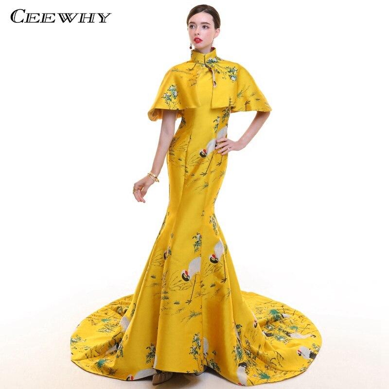 CEEWHY Vintage Arabie Saoudite Robes De Soirée avec Cape Col Haut 3D Imprimer Floral Robe De Bal Formelle Robe De Soirée Abendkleider