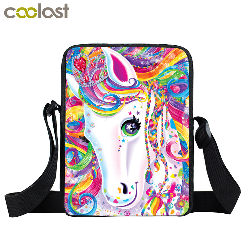 Fantasy Animal Colorful Unicorn Mini Messenger Bag Girls Bookbag Boys School Bags Kids Book Bag Shoulder Bags Best Gift minions ninja mini messenger bag children cute animal dog cat horse printing school bags boys kids book bag for snack best gift