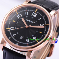 Debert 43mm Rose Gold Case Relojes Black Dial Leather Strap Wrist Watches 21 Jewels Miyota Movement Mens Automatic Watch