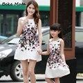 Europa-américa madre hija vestidos 2017 summer flower printed ropa a juego de manga corta familia familia mirada clothing set