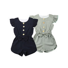 Toddler Baby Girl Button Clothes Baby Girl Ruffle Sleeve Romper Girls Solid Color Jumpsuit Kids Summer Bowknot Outfits 1-6T недорого
