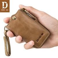 DIDE Business Genuine Leather Car Key Wallets Men Vintage Mini Purse Small Zipper Coin Wallet Male Keys Case housekeeper