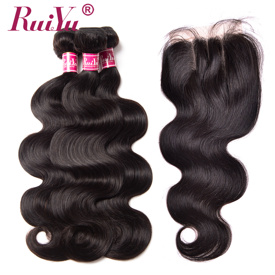 RUIYU Body Wave Bundles With Closure Non Remy Indian Hair 3 Bundles Human Hair With Lace Closure Top Lace Middle/Free/Three Part