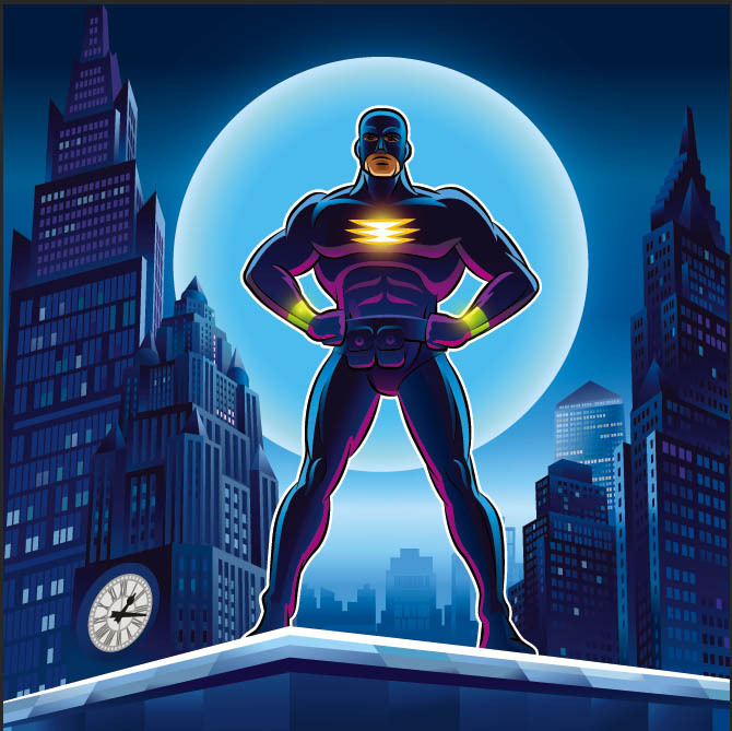 10x10FT Superman Super Hero Skyscraper Blue Moon Night Boy