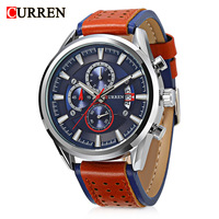 Curren 8290 Men Military Sport Quartz Watches Mens Quartz Watch Calendar Leather Strap Chronograph Sub Dials