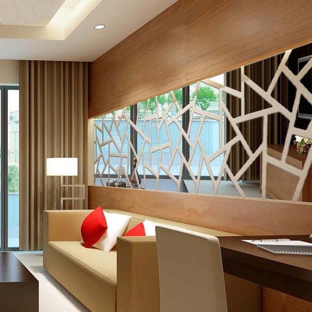 Acrylic Sticker Home Decor Mirror Effect Wall Decal Art 3d Mirror Wall  Stickers Geometric Pattern Living