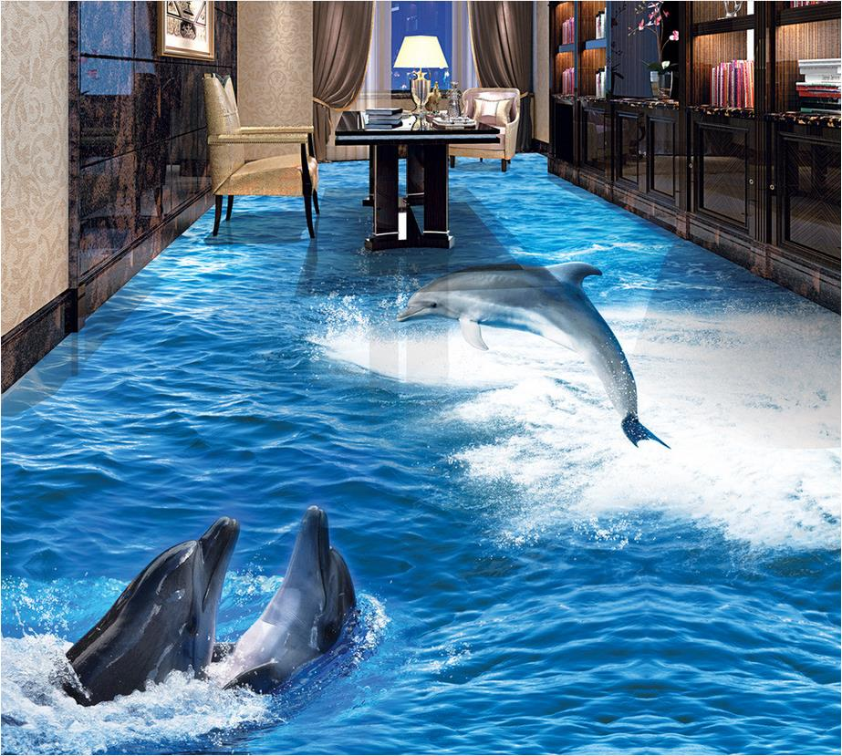 Custom Photo self-adhesive 3D floor ocean dolphin PVC waterproof floor Photo wallpaper mural floor beibehang custom photo floor painted