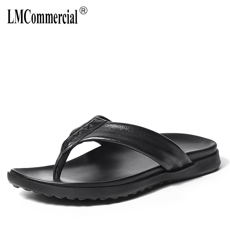 Genuine Leather cowhide Summer sandals Sneakers Men Slippers Flip Flops casual Shoes beach outdoor anti-skid flip flops men