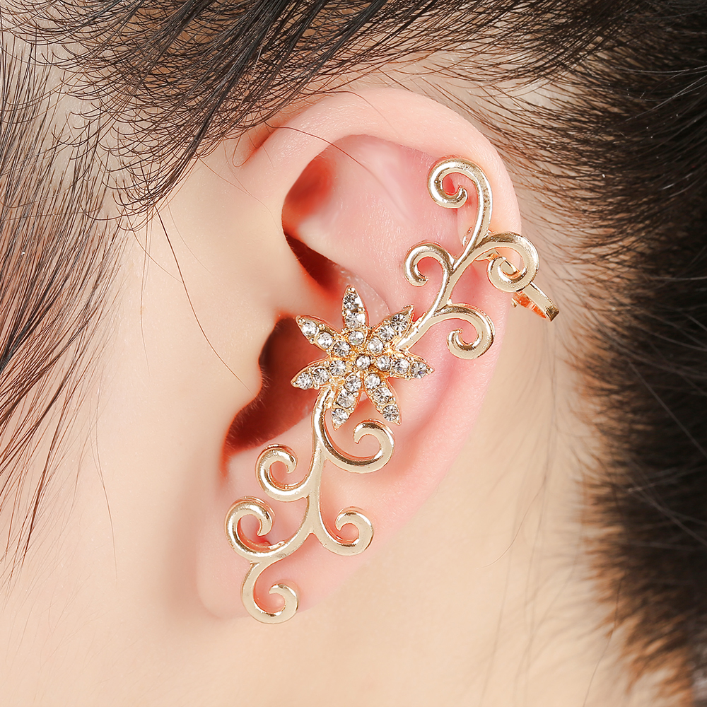 ZLDYOU Fashion Women Piercing Jewelry Ear Cuff Crystal Flowers ...