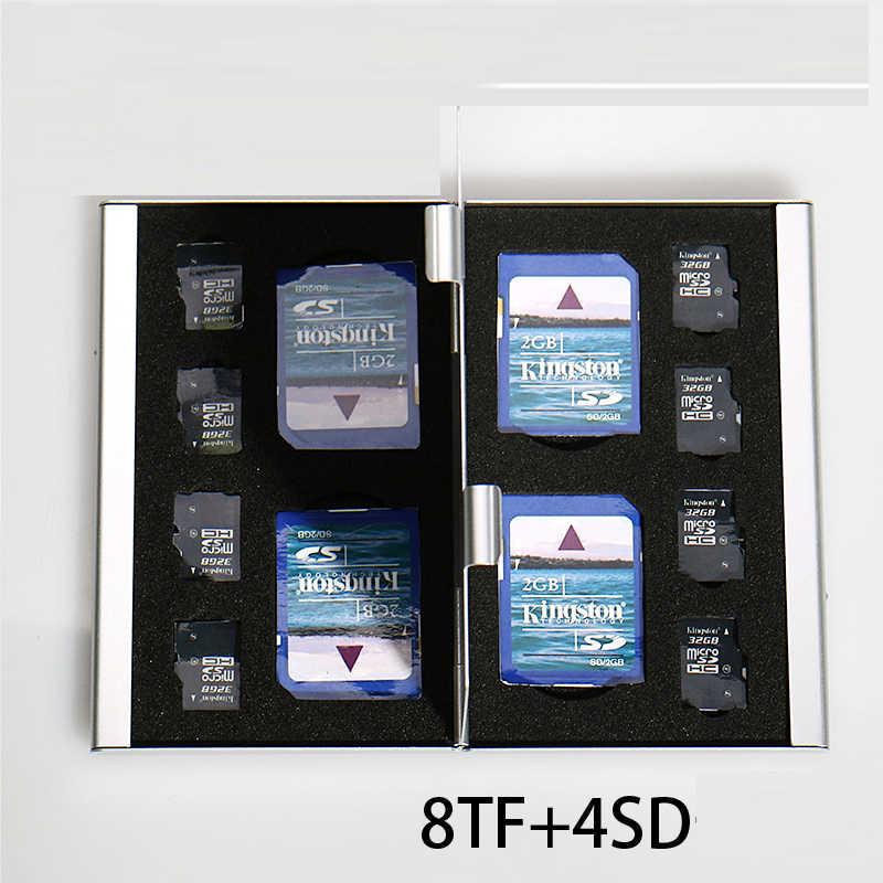 2017 argent rouge bleu 12 en 1 boîte de rangement en aluminium sac étuis de carte mémoire titulaire portefeuille grande capacité pour 8 * Microsd 4 * pour Sd